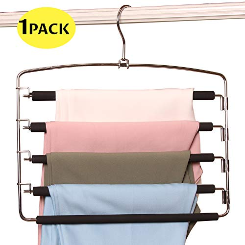 BEAUTLOHAS. Pants Hangers Space Saver Metal Stainless Slacks Hanger Foam Padded 5 Layers Non-Slip Swing Arms Closet Storage Organizer for Pants&Trousers&Jeans&Scarves&Skirts (1 Pack)