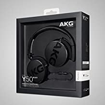 Color Black AKG Y50 On Ear Headphones Smart Styling Snug Fit Detachable Cable with Remote Mic