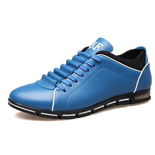 Dorical Herren Freizeit Schuhe, Männer Leder Business Anzugschuhe Halbschuhe Schnürer Oxford Derbys Lederschuhe Wasserdicht Flache Schnürhalbschuhe für Hochzeit Party Größe 38-48(Himmelblau,38)