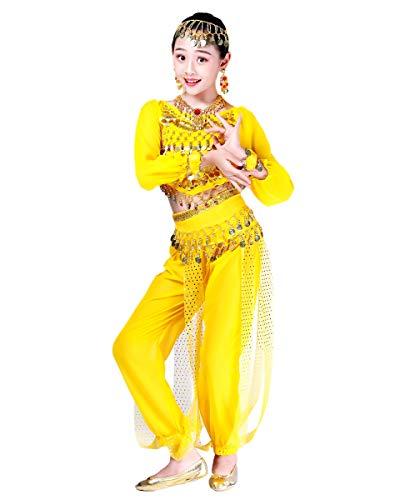 Grouptap Bollywood Indio niños niñas bharatanatyam Manga Larga Danza del Vientre 2 Piezas Amarillo kuchipudi niños Disfraces Disfraz (Amarillo, 110-130 cm)