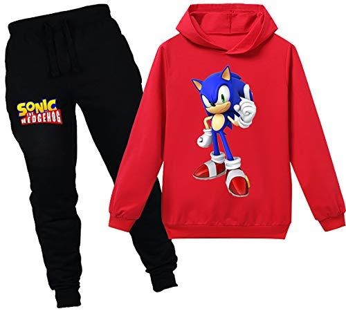 Silver Basic Unisex Fun Jogginganzüge Shadow Sonic The Hedgehog Kinderkleidung Hoodys Freizeit Lange Hosen lustiger Druck Pullover Sets,rot Sonic,140-2