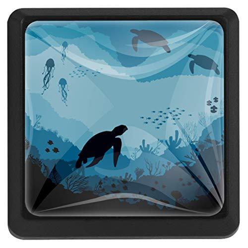 [4 piezas] pomos de aparador, coloridos pomos decorativos para cajón, decoración del hogar, perillas de tirones de tortuga azul bajo el agua