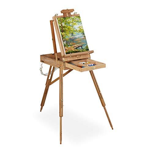 Relaxdays Kofferstaffelei Holz, für Erwachsene, Höhe & Neigung verstellbar, tragbar, XL Staffelei mit Schublade, natur