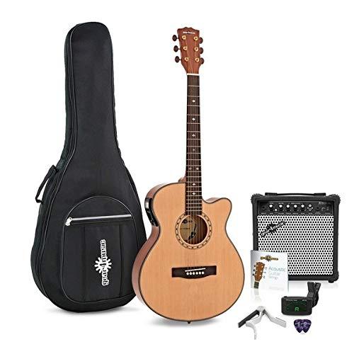Guitarra Electroacustica Deluxe Single Cutaway + Pack de Ampli de 15W