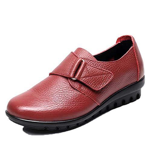 Mocasín de Mujer con Punta Redonda Retro Primavera Verano Trabajo al Aire Libre Mocasines con Lazo en la Parte Inferior Suave Zapatos de Madre de Cuero Dividido usable