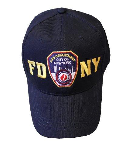 FDNY Casquette de baseball Badge des pompiers de New York City Noir et doré Taille Unique