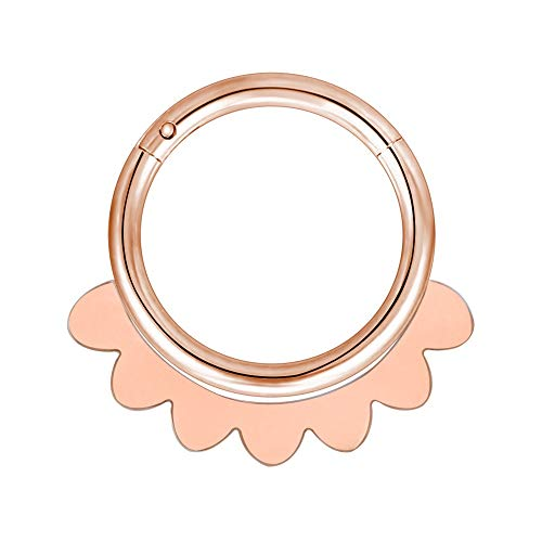 LZZR 1PC Brass Septum 20G Nose Rings Earrings Conch Rook Body Jewelry (Color : H Rose Gold, Size : 10mm)