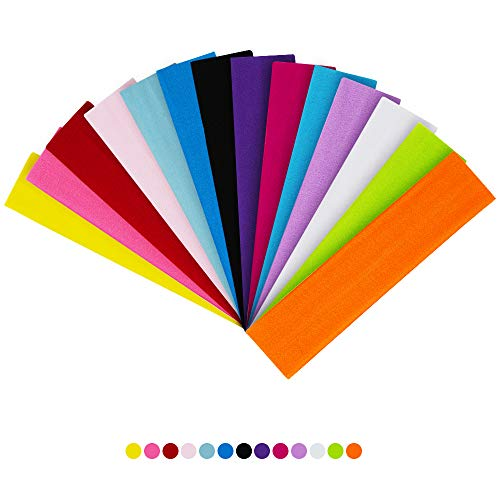 QUMENEY 14PCS Yoga Headband, Colorful Sport Fashion Headband, Elastic Sweatband for Women, Girls, Sports, Pilates, Fitness (Mixed Colors)