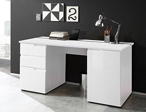 lifestyle4living Schreibtisch in Weiß, Hochglanz, 158 x 67 cm | Bürotisch mit 2 Türen und 2 Schubladen