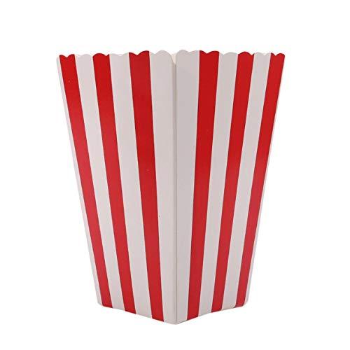 Vektenxi Premium 12pcs Popcorn Boxen Taschen Halter Kino gestreiften Popcorn Boxen Karton Süßigkeiten Container für Party Snacks, Süßigkeiten, Popcorn und Pralinen rot