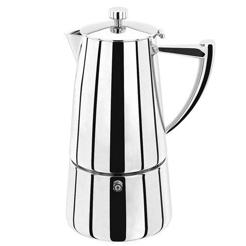 Stellar Art Deco Espressokocher 10 Tassen, 600ml, Edelstahl, Silber, 14.6 x 13.9 x 25.1 cm