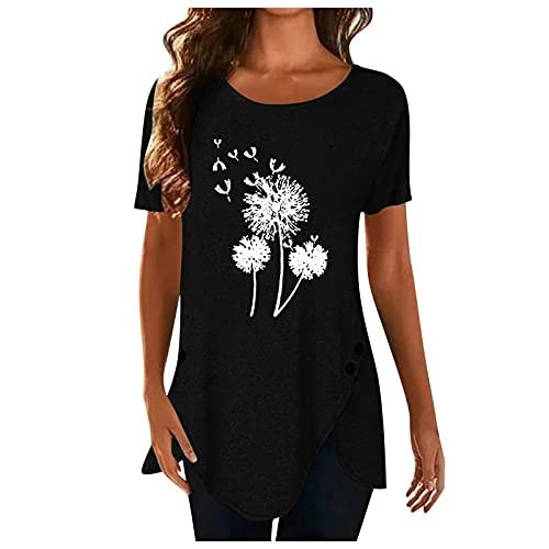 XOXSION Camiseta de verano para mujer, parte superior de diente de león, camiseta irregular con botones, camisa de manga corta, cuello redondo, túnica para mujer B negro. L