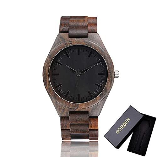KUELXV Reloj de Pulsera de Madera Reloj de Madera para Hombre, Mujer, Marca Superior, Hombre de Madera Completo, Minimalista, Relojes de Pulsera de Cuarzo de bambú, Reloj Masculino, Regalo, Otro