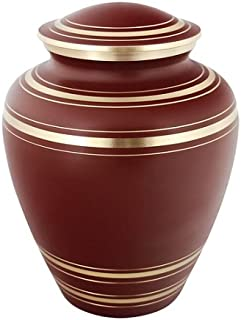 Silverlight Urns Elite Garnet Red Brass Cremation Urn, Brass Funeral Urn for Adult Ashes, 9.25 Inches Tall