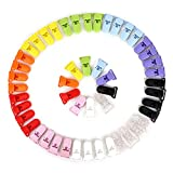 Anladia 50 Pcs Pacifier Clips Holders Suspender Clips Mixed Color with Gripping Teeth for Dummy Binky Soother Paci Bib Toy Holder Clip Teething Toys Baby Blankets 10 Colors