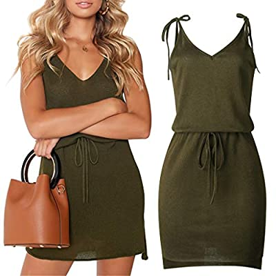 W-Fight 2019 Summer Women V Neck Lace-Up Strap Backless Sleeveless Casual Mini Wrap Dress Green from W-FIGHT
