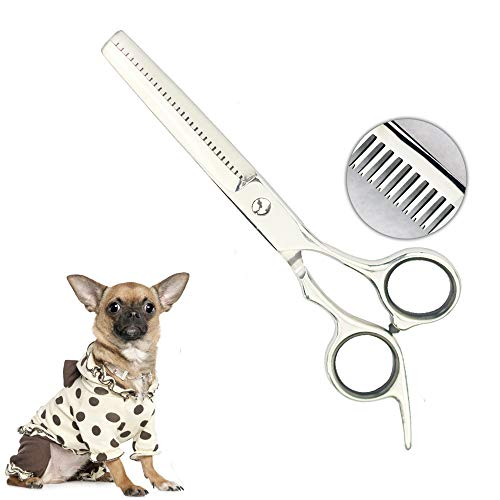Chibuy Professional Pet Grooming Scissors with Round Tips Pet Thinning Scissors for Dogs and Cats, 4CR Stainless Steel Dog Thinning Shears, Home Professional Grooming Tool