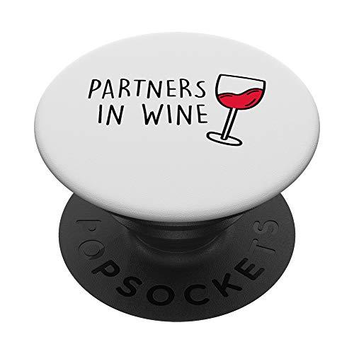 Partners in Wine. Vino tinto blanco rosado AM PM Diversión PopSockets PopGrip: Agarre intercambiable para Teléfonos y Tabletas
