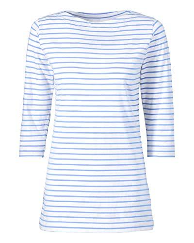 CLINIC DRESS Longshirt Damen - Ringelshirt 3/4 Arm Stretch mit 95% Baumwolle, für Krankenschwestern, Ärztinnen und Pflegepersonal blau/weiß XL