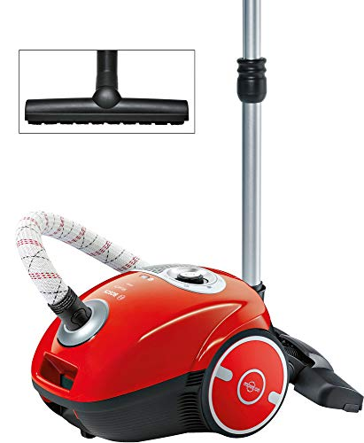 Bosch Staubsauger mit Beutel MoveOn BGL35MON13, Bodenstaubsauger, ideal für Allergiker, Hygiene-Filter, Bodendüse für Parkett, Teppich, Fliesen, langes Kabel, 600 W, rot