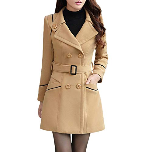Damen Zweireiher Wollmantel Elegante Arbeits Anzug Jacke FRAUIT Frauen Knopf Stehkragen Einfarbig Zwei Taschen Elegant und Modisch Schlack Trenchcoat Mantel Wintermantel Outwear (L, T-Khaki)