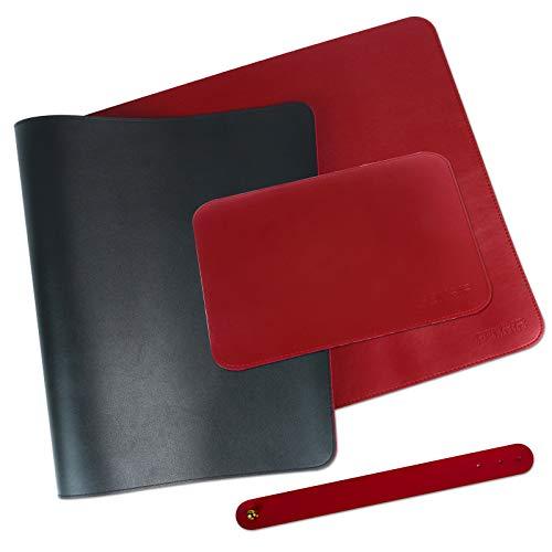 FENRIR Designer Schreibtischunterlage, Tischunterlage inkl. Mousepad, 80 x 40cm+25x 21cm, wasserdichte Schreibtischunterlage aus PU-Leder, doppelseitig,für Büro- oder Heimbereich (Schwarz-Rot)