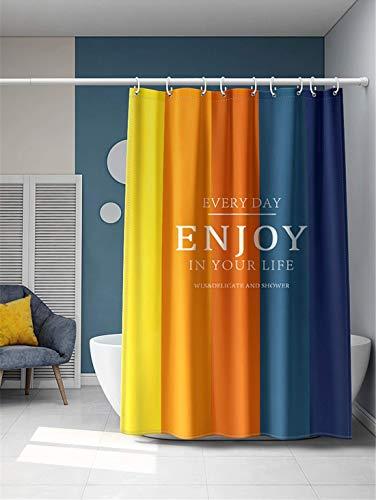 Xlabor Farbverlauf Duschvorhang 240x200cm Wasserdicht Anti-Schimmel Stoff inkl. 12 Duschvorhangringe für Badezimmer Motiv-B 180x200 cm