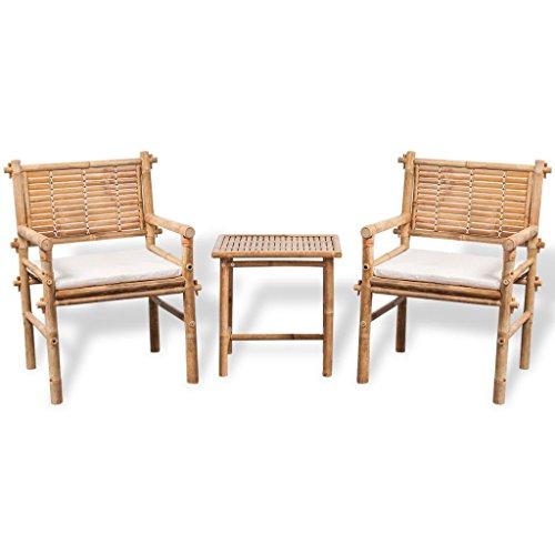 binzhoueushopping Bistro-Set mit Couchtisch und Kissen, langlebig und stabil, aus Bambus, Maße Tisch 50 x 40 x 50 cm (L x B x H) Bistrostuhl