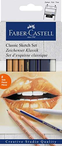 Faber-Castell 114004 - Classic Sketch Set Goldfaber, 6 teilig