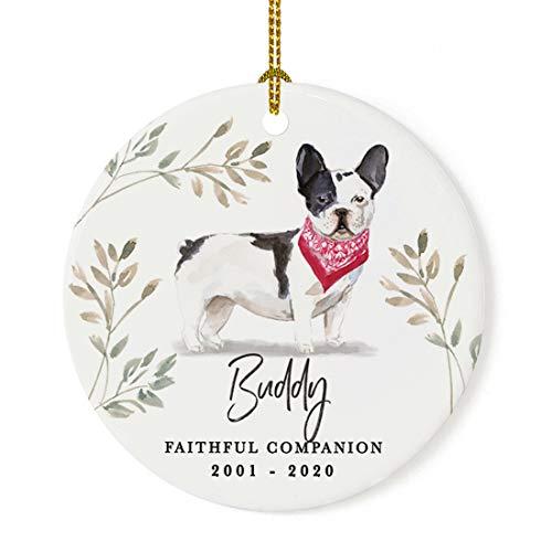 Andaz Press Personalized Round Porcelain Ceramic Christmas Dog Memorial Ornament, Faithful Companion, Black & White French Bulldog, Custom Name and Year, Pet Memorial Ideas, 1-Pack