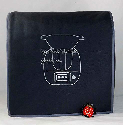 Abdeckhaube für Thermomix, TM 6, TM 5, Mod. Thermomix, Dunkelgrau mit silbergrau, Stickerei, Utensil-Taschen, Canvas-Baumwolle, Verstärkt, Utensil-Taschen-Henkelüttert,