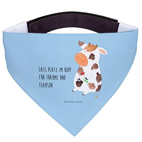 Mr. & Mrs. Panda mittelgroße Hunde, Hunde, Hundehalstuch M Kuh mit Spruch - Farbe Blau Pastell