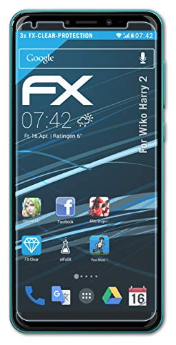 atFolix Schutzfolie kompatibel mit Wiko Harry 2 Folie, ultraklare FX Bildschirmschutzfolie (3X)