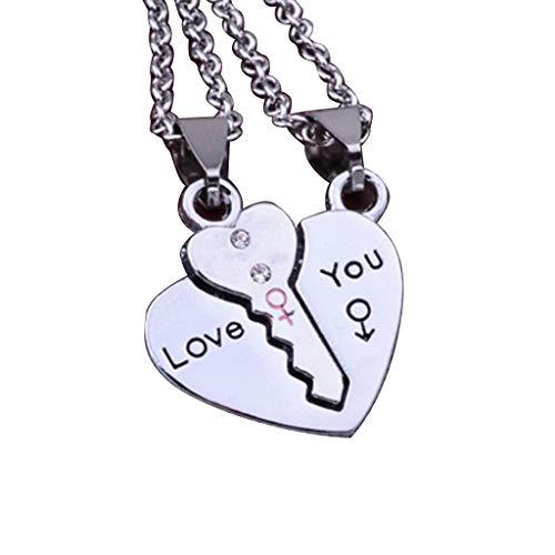 N/A. Juego de 2 collares con colgante de corazón para parejas, diseño de hadas, ideal como regalo para el día de San Valentín, cumpleaños
