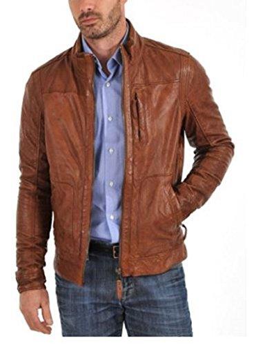 New York Men Leather Jacket Genuine Pure Lambskin Leather Slim Fit Biker Jacket Brown (M)