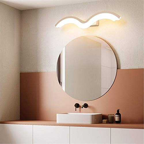 Espejo de baño de aluminio creativo Espejo de onda ligera Pantalla de acrílico con base de acero inoxidable IP44 Lámpara de pared de tocador impermeable para inodoro, blanco cálido 3000K, blanco 80CM
