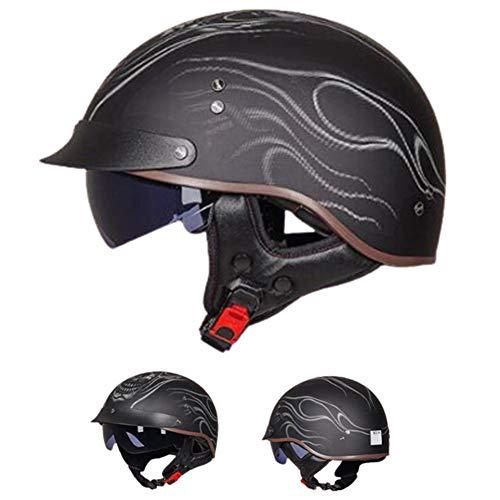 Helmets Casco Moto Abierto, Medio Casco De Motocicleta Retro,Hombres y Mujeres Montando...