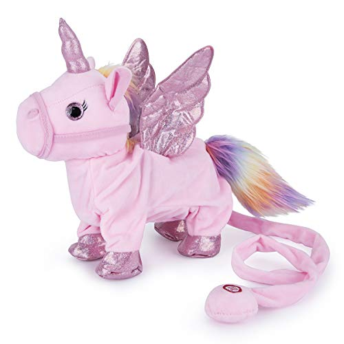 Gheniver Walking Singing Unicorn Toy,Electronic Pegasus Pet with Remote Control Leash,Interactive Animated Stuffed Plush Animal Horse,Musical Cute Pony Gift for Girl,Kid,Child,Toddler,12'(Pink)