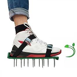 MKNZOME Sandales Aérateur Pelouse Jardin Aérateur Gazon Chaussures Chaussure à Gazon Scarificateur Manuel avec Roue…