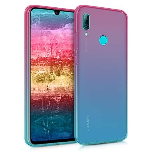 kwmobile Funda Protectora Compatible con Huawei P Smart (2019) - Carcasa Bicolor Rosa Fucsia/Azul/Transparente