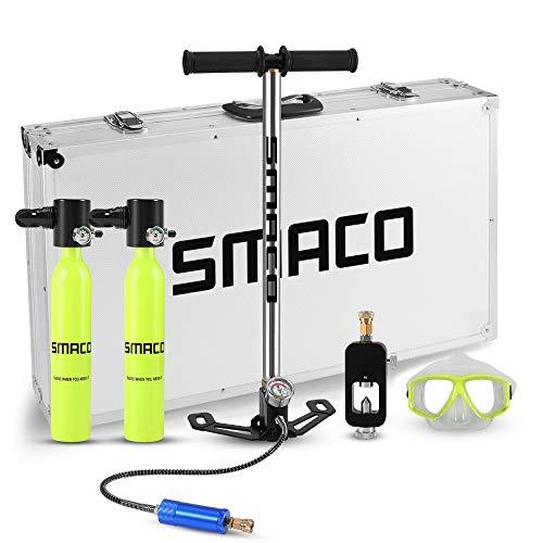 hyxt - Equipo portátil de respiración para esnórquel subacuático de buceo, juego completo de equipo con 2 tanques de oxígeno, gafas de buceo, adaptador de interruptor de recambio, bombas de mano, 3 formas inflables