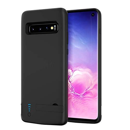Funda de batería para Galaxy S10, 6000 mAh, portátil, batería externa para Samsung Galaxy S10, cargador rechazable, soporte de banco de energía, color negro