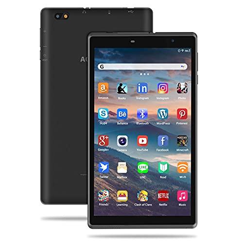 Tablet 8 Pulgadas Android 10 IPS Ultrar-Rápido Tablets HD 1280 * 800 Quad Core 3GB RAM 32GB/128GB ROM WiFi 5000mAh Bluetooth 4.2-Certificación Google GMS (Negro)