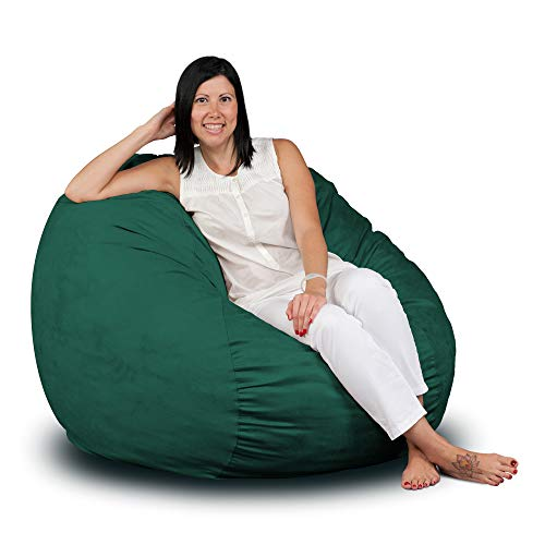 FUGU Bean Bag Chair, Premium Foam Filled 3 XL, Protective Liner Plus Removable Machine Wash Hunter Green Cover