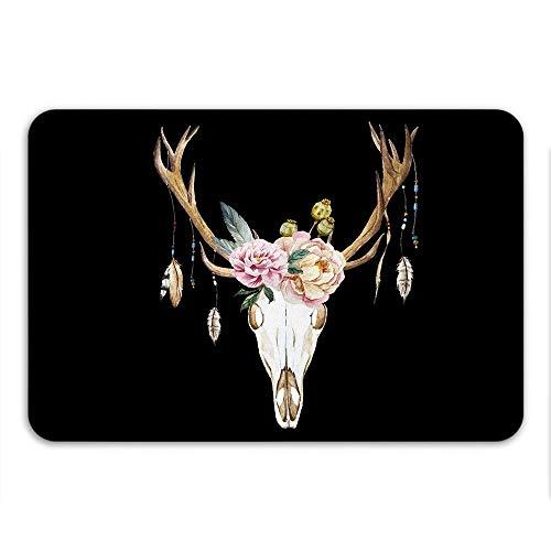 N\A Boho Chic cerf crâne Anti-dérapant Tapis de Bain thème Occidental décor crâne Art Urban Outfitters décor à la Maison