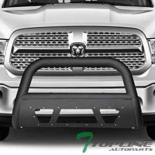 Topline Autopart Matte Black Studded Mesh Bull Bar Brush Push Front Bumper Grill Grille Guard With Skid Plate For 09-18 Dodge Ram 1500/2019 Classic