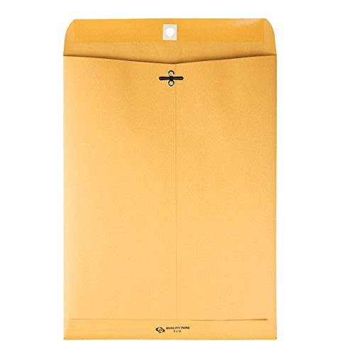 Quality Park 9 x 12 Clasp Envelopes with Deeply Gummed Flaps, Great for Filing, Storing or Mailing Documents, 28 lb Brown Kraft, 250 per Box (37590)