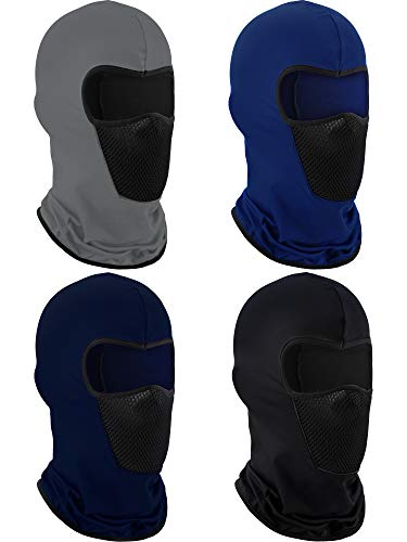 4 Pieces Summer Balaclava Face Mask Sun Dust Windproof Protection Mask Breathable Full Face Cover for Outdoor Activitie (Black Grey Blue)