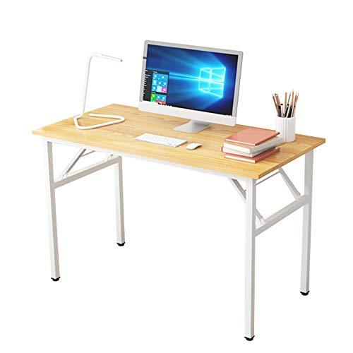 DlandHome Mesa Plegable Mesa de Ordenador 120x60cm Escritorio de Oficina Mesa de Estudio Puesto de Trabajo Mesas de Recepción Mesa de Formación,Teca/Blanco