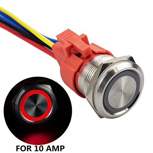 APIELE All New Design 10 Amp 22mm Latching Push Button Switch 12V Angel Eye LED Waterproof Stainless Steel Round Self-Locking 7/8'' 1NO 1NC (10 Amp/Red Led)